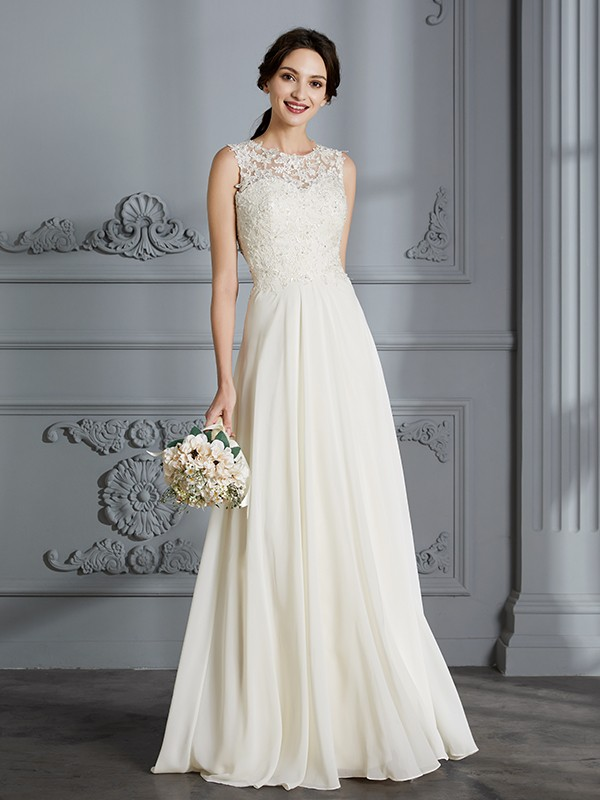 Exquisite A-Line Scoop Cut Chiffon Long Wedding Dresses With Ruffles