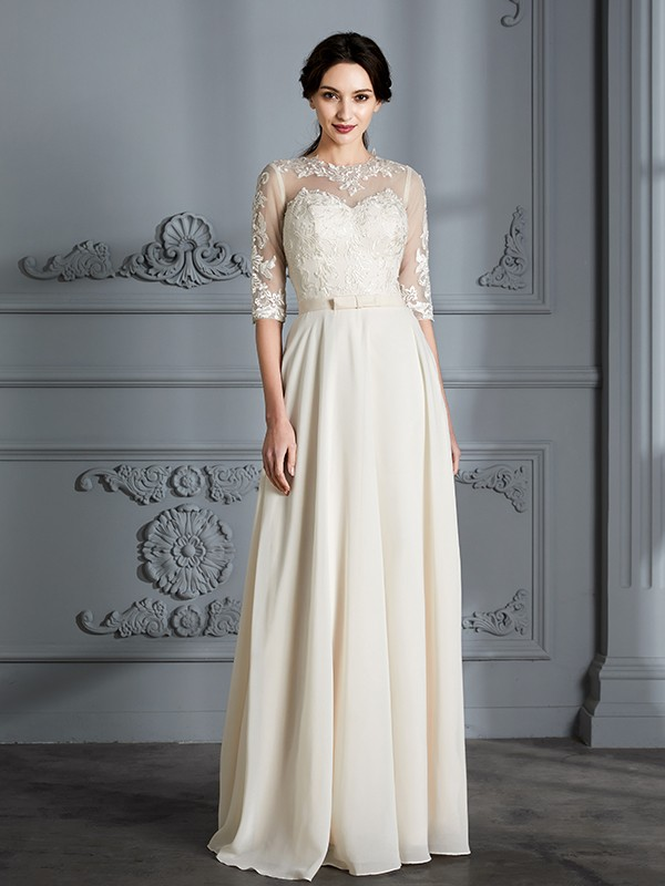 Nice A-Line Scoop Cut Chiffon Long Wedding Dresses With Ruffles