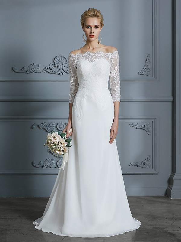 Awesome Mermaid Off-the-Shoulder Cut Chiffon Long Wedding Dresses With Lace