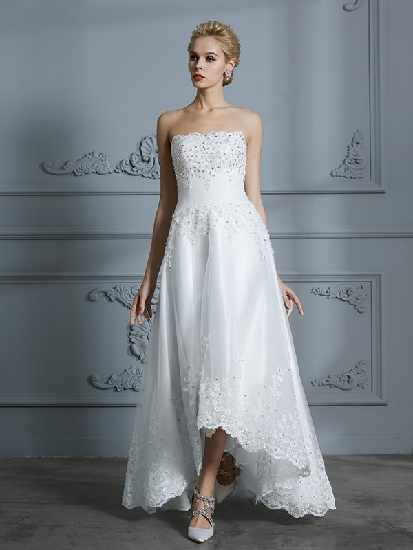 Stunning A-Line Sweetheart Cut Tulle High Low Wedding Dresses With Beading