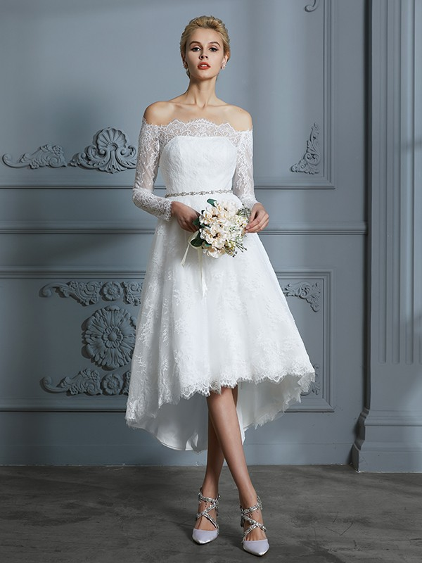 Lovely A-Line Off-the-Shoulder Cut Lace High Low Wedding Dresses With Lace
