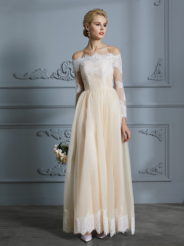 Shining A-Line Off-the-Shoulder Cut Tulle Long Wedding Dresses With Lace