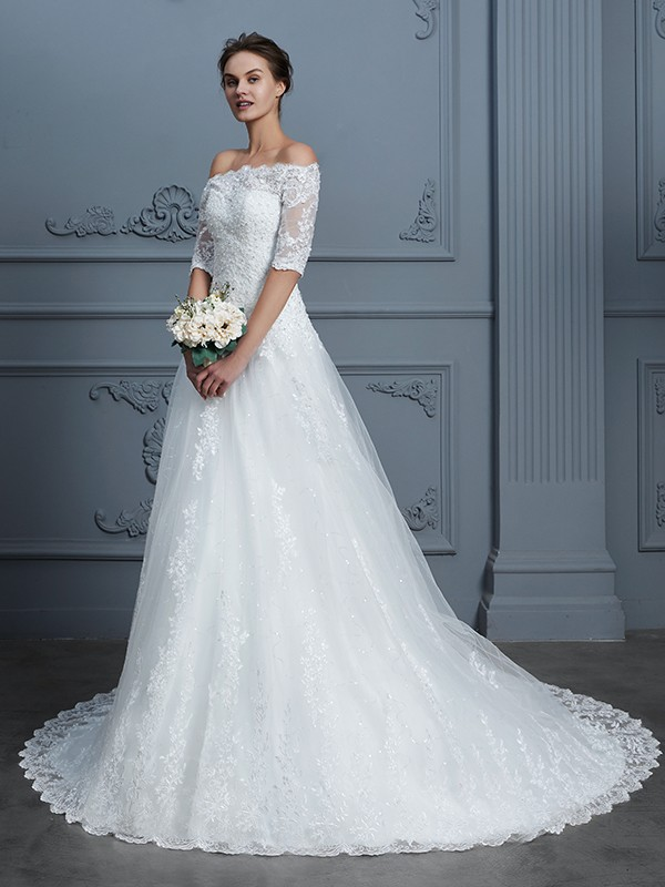 Sweet Ball Gown Off-the-Shoulder Cut Lace Long Wedding Dresses With Beading