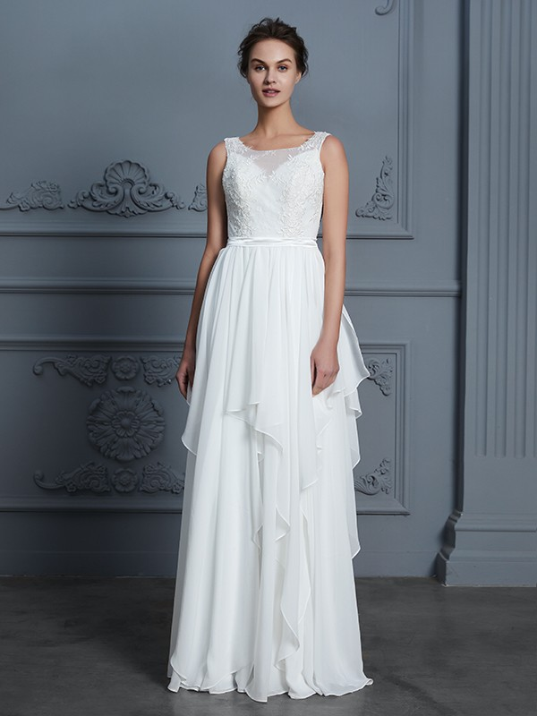 Stylish A-Line Scoop Cut Chiffon Long Wedding Dresses With Ruffles