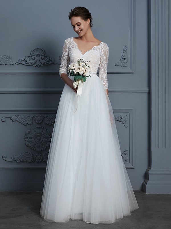 Popular A-Line V-neck Cut Tulle Long Wedding Dresses With Lace