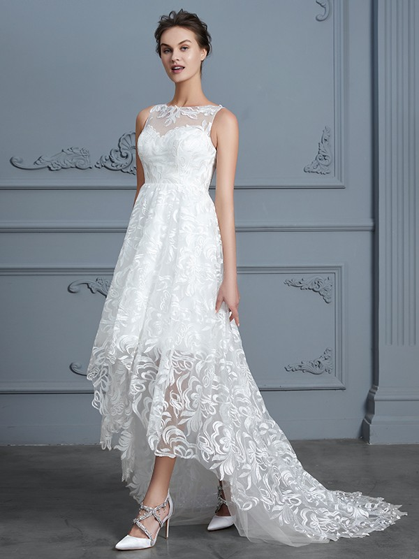 Pretty A-Line Scoop Cut Lace High Low Wedding Dresses With Lace