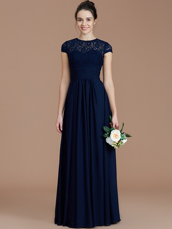 Dreamlike A-Line Jewel Cut Chiffon Long Bridesmaid Dresses With Lace