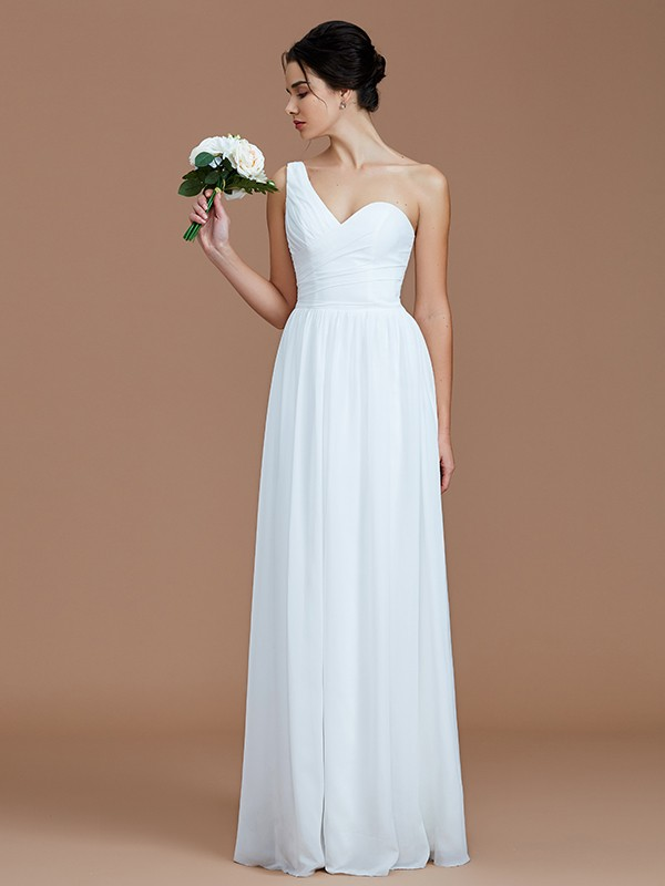 Hot A-Line One-Shoulder Cut Chiffon Long Bridesmaid Dresses With Ruched