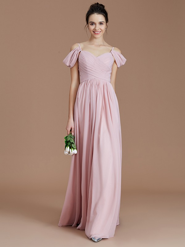 Popular A-Line Off-the-Shoulder Cut Chiffon Long Bridesmaid Dresses With Ruched