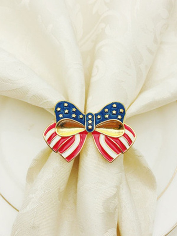 Exquisite Alloy With Bowknot Napkin Rings(12 Pieces)