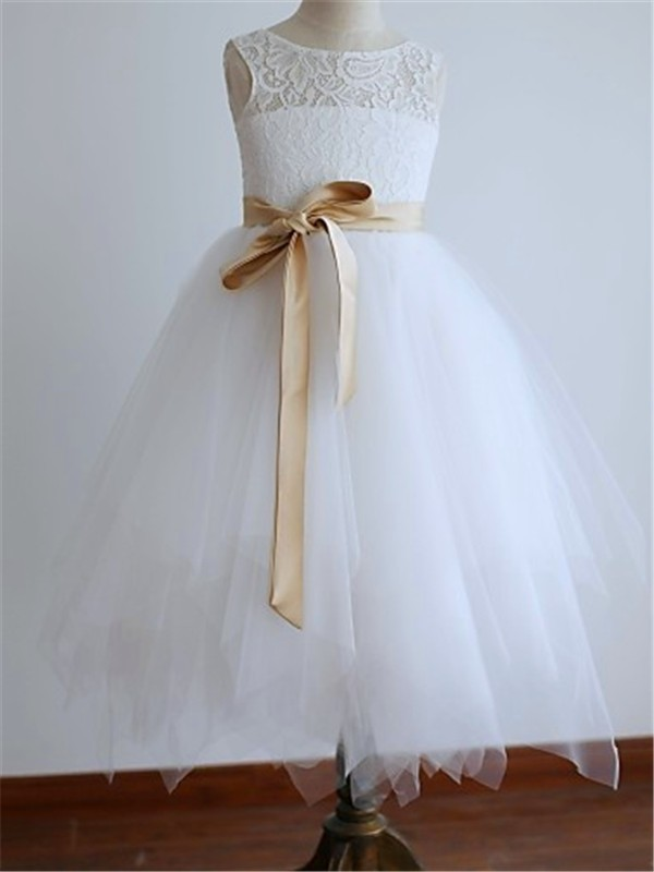 Chic A-Line Scoop Cut Tulle Long Flower Girl Dresses With Sash/Ribbon/Belt