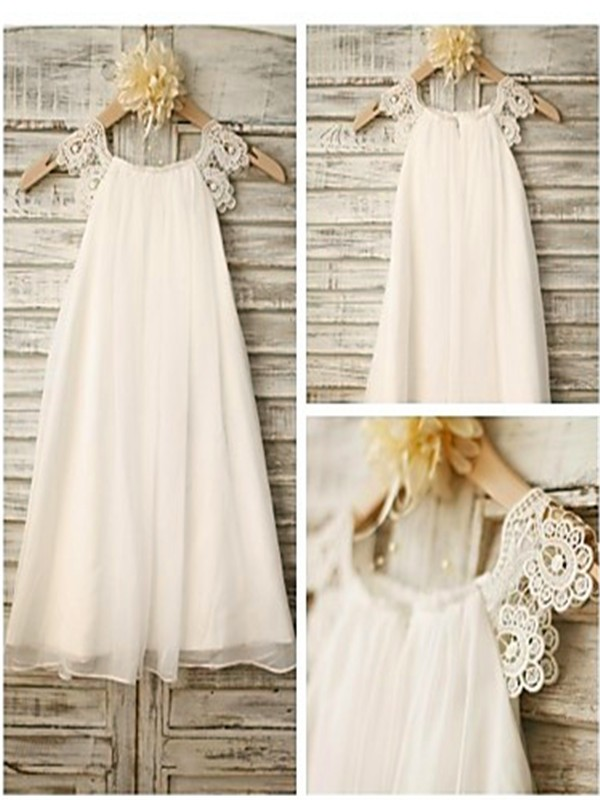 Pretty A-Line Scoop Cut Chiffon Long Flower Girl Dresses With Lace