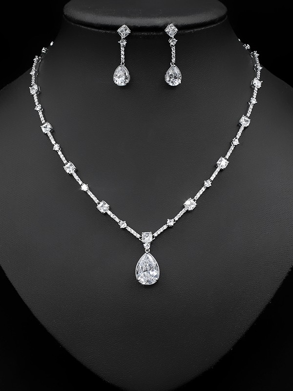 Unique Copper With Zircon Jewelry Sets For Women
