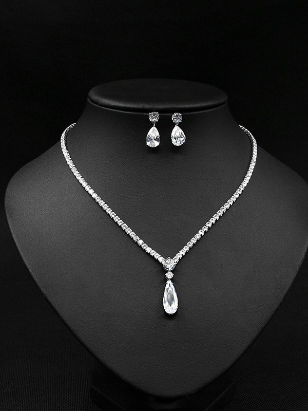 Beautiful Copper With Zircon Jewelry Sets For Women