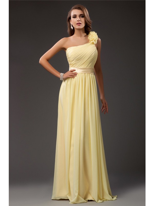 Radiant Sheath One-Shoulder Cut Chiffon Long Dresses With Ruffles