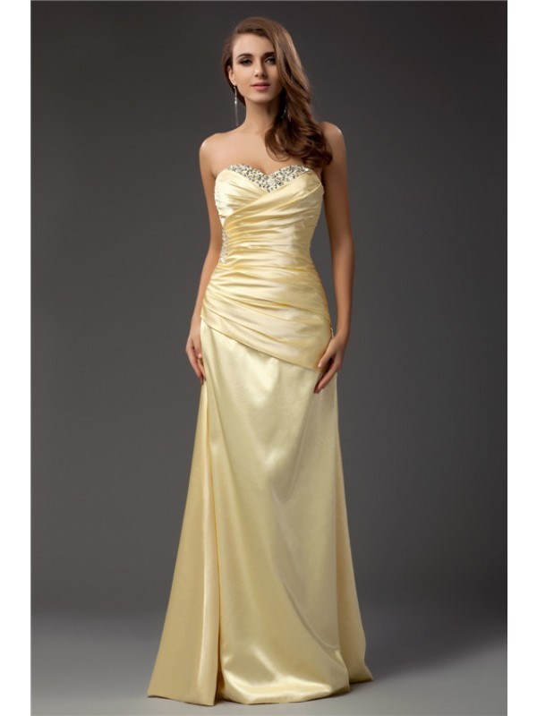 Soft Sheath Sweetheart Cut Taffeta Long Dresses With Pleats