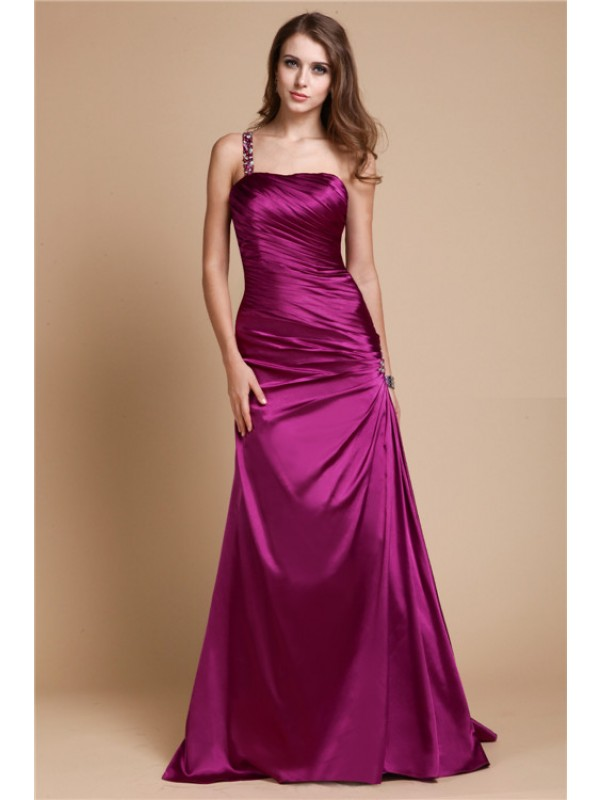 Radiant A-Line One-Shoulder Cut Elastic Woven Satin Long Dresses With Beading