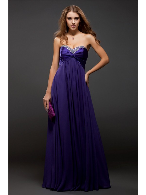 Chic Sheath Sweetheart Cut Chiffon Long Dresses With Beading