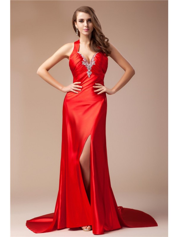 Popular Sheath V-neck Cut Elastic Woven Satin Long Dresses With Beading