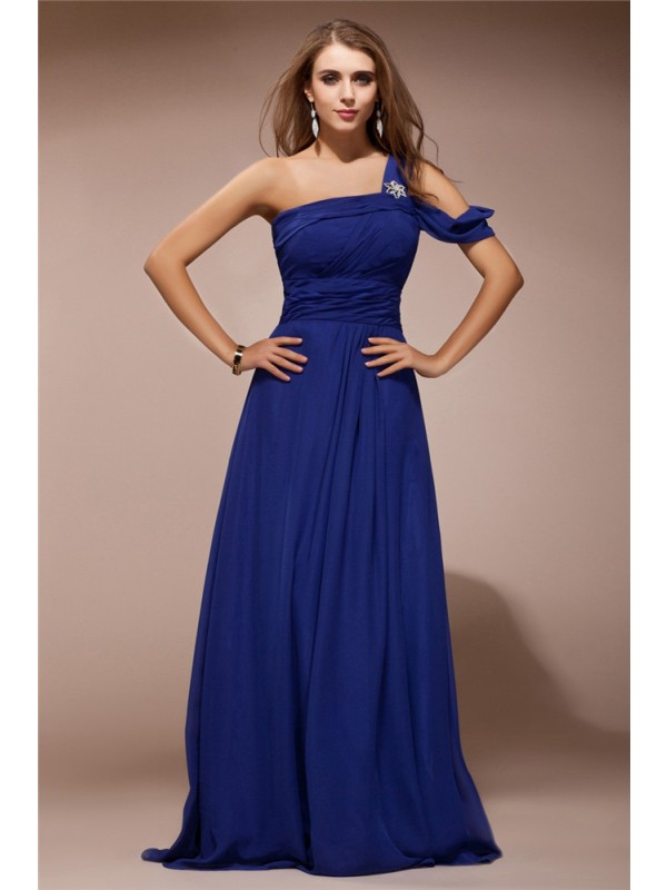 Unique Sheath One-Shoulder Cut Chiffon Long Dresses With Ruffles