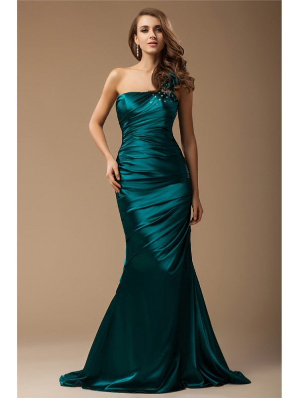 Trendy Mermaid One-Shoulder Cut Elastic Woven Satin Long Dresses With Beading