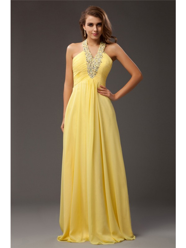Pretty Sheath Halter Cut Chiffon Long Dresses With Beading