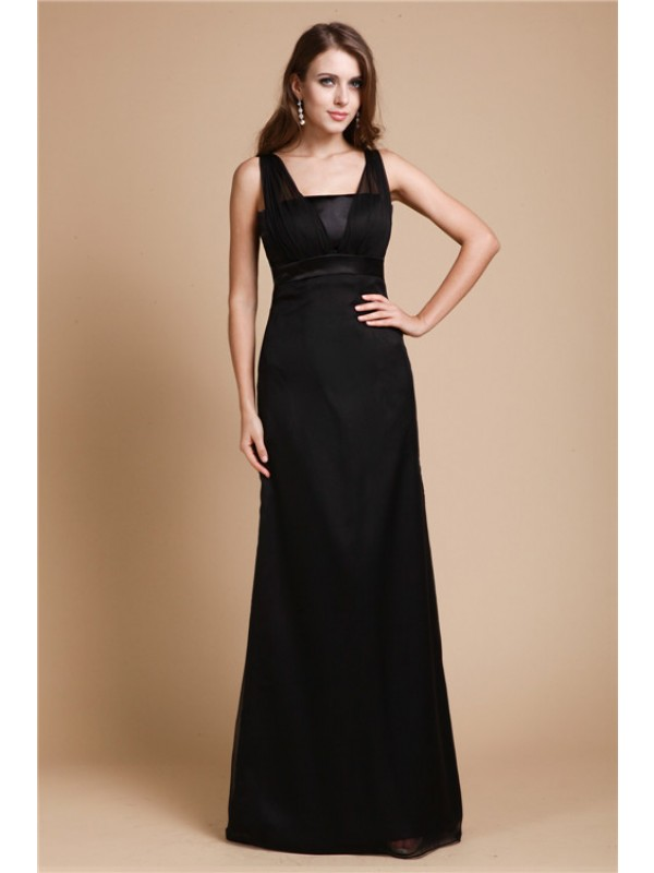 Lovely Sheath Straps Cut Chiffon Long Dresses With Sash/Ribbon/Belt
