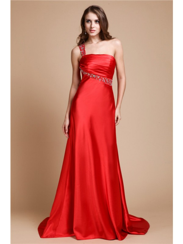 Charming A-Line One-Shoulder Cut Elastic Woven Satin Long Dresses With Beading
