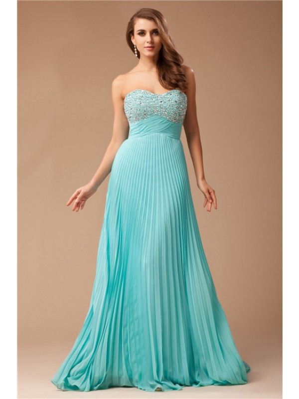 Smart Empire Sweetheart Cut Chiffon Long Dresses With Beading