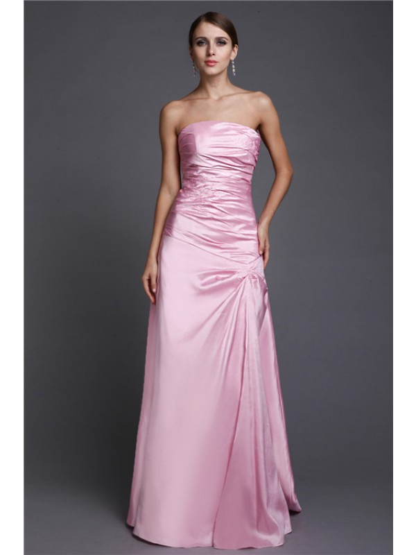 Chic A-Line Strapless Cut Elastic Woven Satin Long Dresses With Beading
