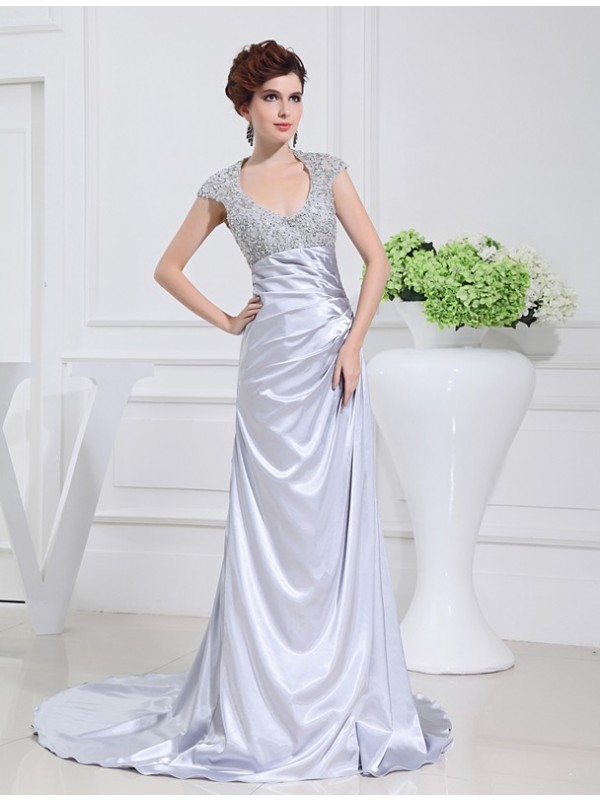 Fashional A-Line Scoop Cut Elastic Woven Satin Long Dresses With Beading