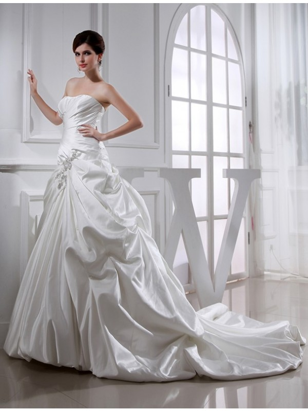 Nice A-Line Strapless Cut Satin Long Wedding Dresses With Beading