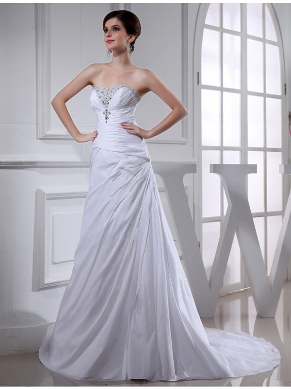 Awesome A-Line Strapless Cut Taffeta Long Wedding Dresses With Beading