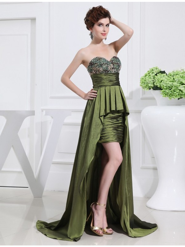 Romantic A-Line Sweetheart Cut Taffeta High Low Dresses With Beading