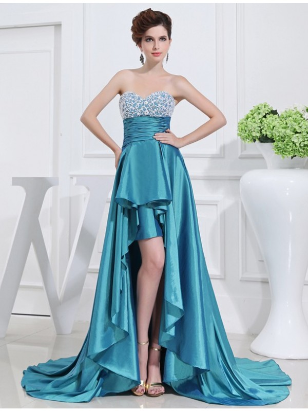 Lovely A-Line Sweetheart Cut Taffeta High Low Dresses With Beading