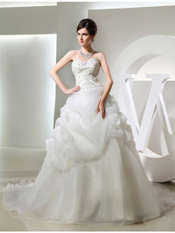 Unique Ball Gown Strapless Cut Organza Long Wedding Dresses With Beading