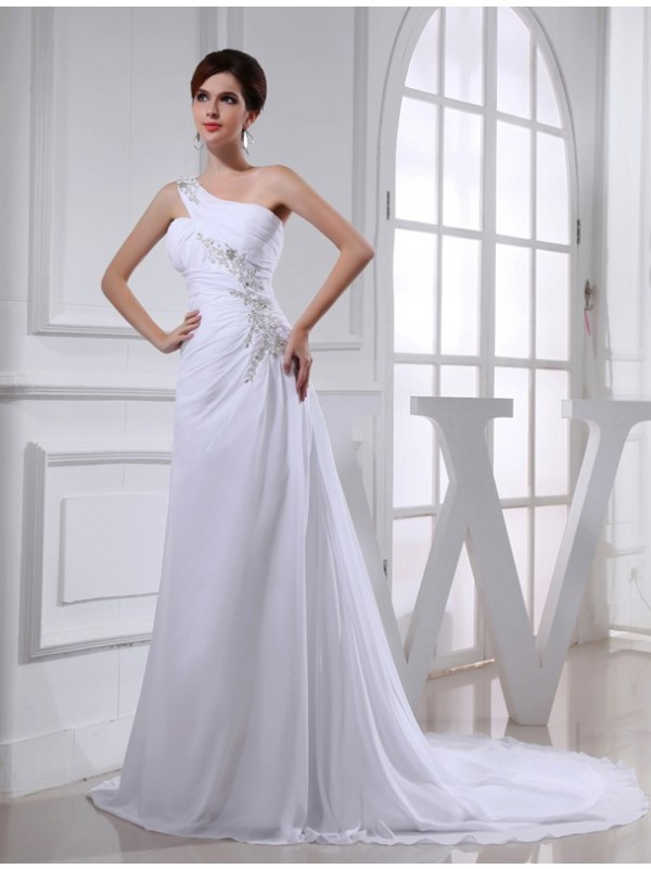 Lovely A-Line One-Shoulder Cut Chiffon Long Wedding Dresses With Beading