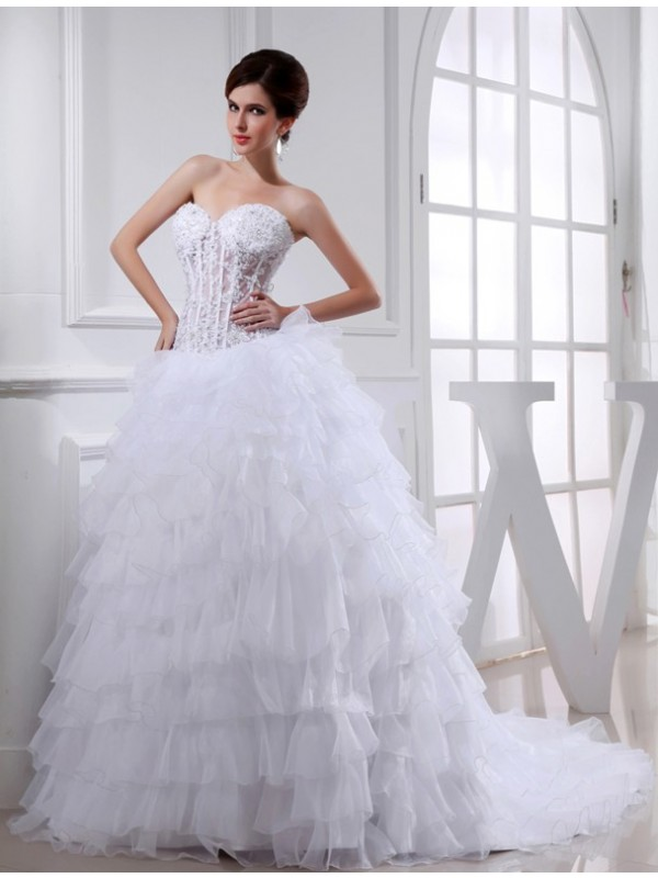 Special Ball Gown Sweetheart Cut Organza Long Wedding Dresses With Beading