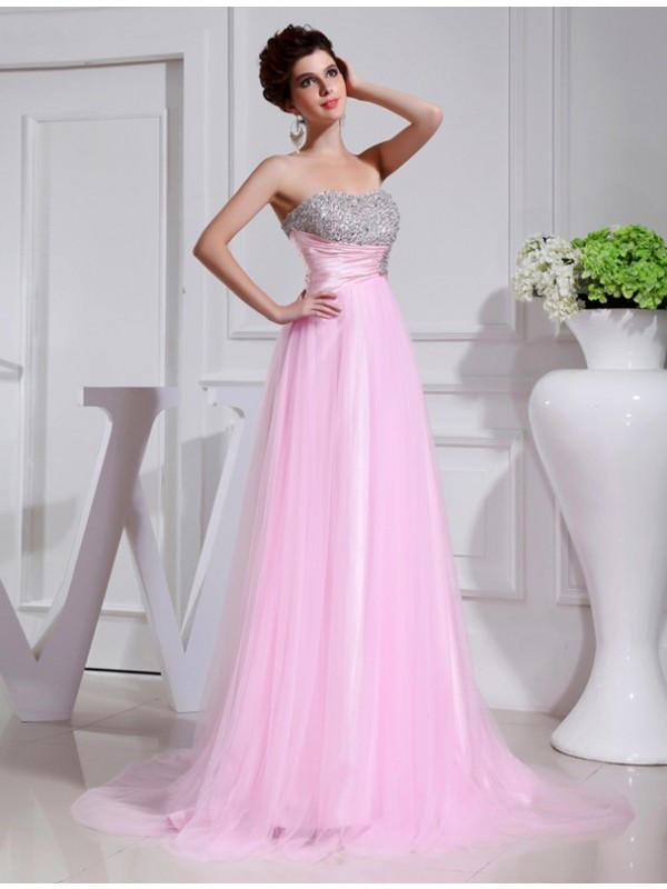Sweet A-Line Strapless Cut Tulle Long Dresses With Beading