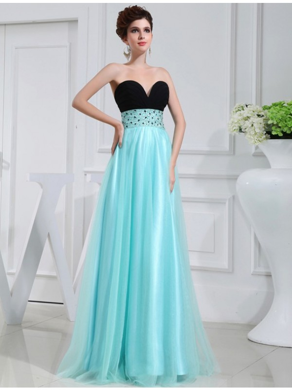 Shining A-Line Sweetheart Cut Elastic Woven Satin Long Dresses With Beading
