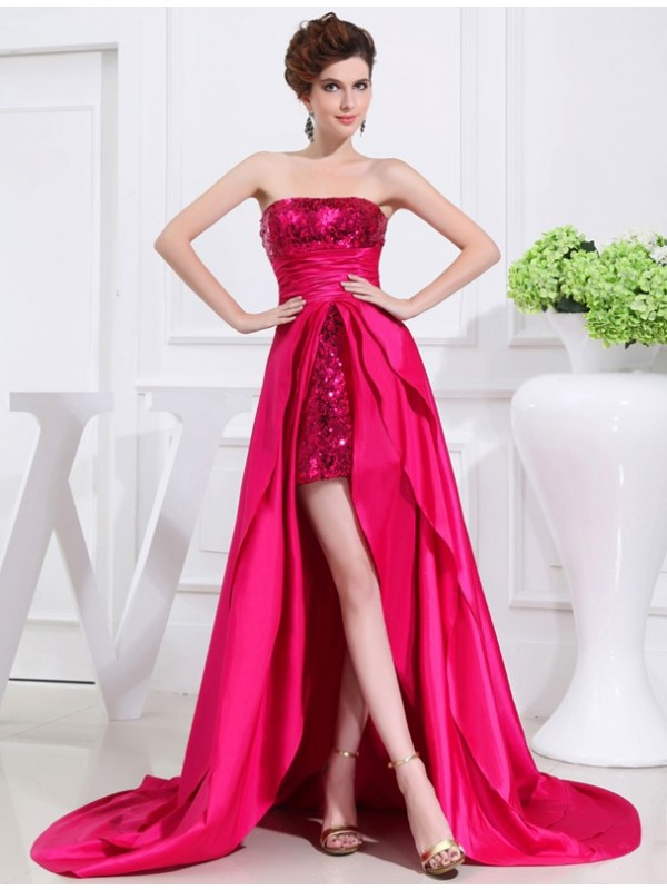 Attractive A-Line Strapless Cut Taffeta High Low Dresses With Applique