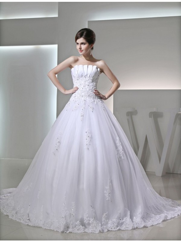Dreamlike Ball Gown Strapless Cut Satin Long Wedding Dresses With Beading