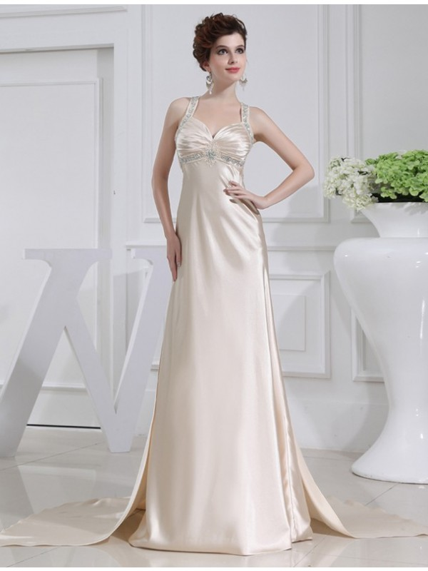 Special A-Line Straps Cut Elastic Woven Satin Long Dresses With Beading