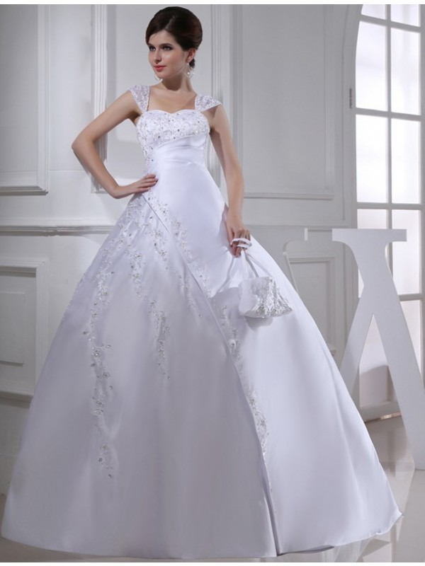 Glamorous Ball Gown Straps Cut Satin Long Wedding Dresses With Beading