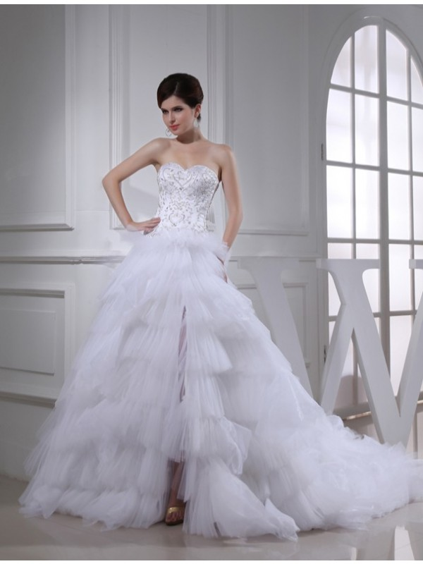 Popular A-Line Sweetheart Cut Satin Long Wedding Dresses With Beading