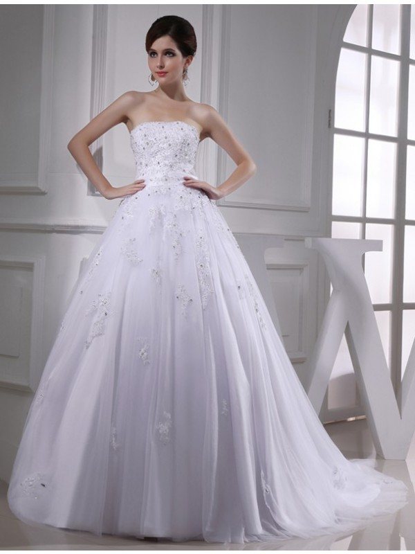 Gorgeous Ball Gown Strapless Cut Tulle Long Wedding Dresses With Beading