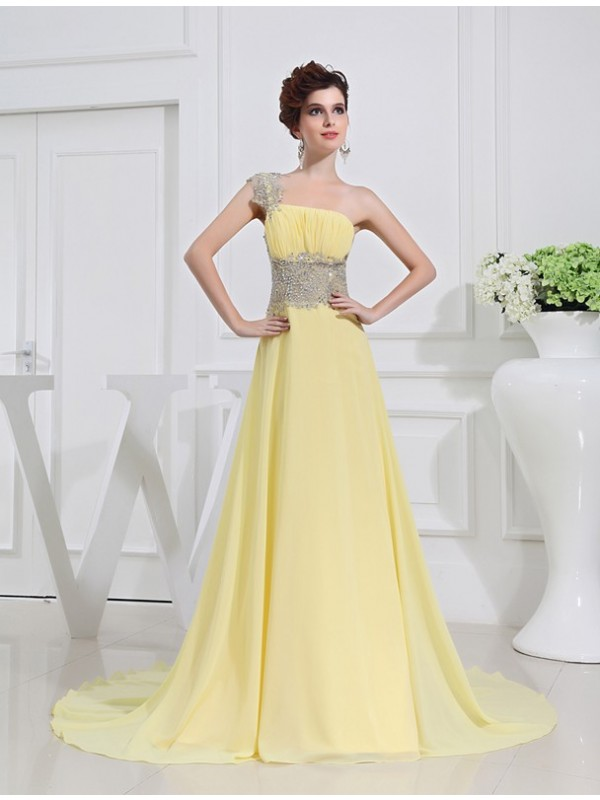 Delicate A-Line One-Shoulder Cut Chiffon Long Dresses With Beading