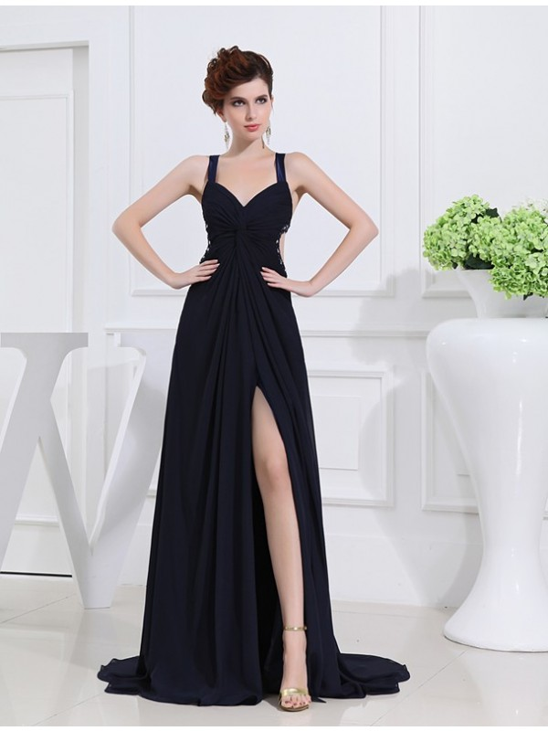 Amazing A-Line V-neck Cut Chiffon Long Dresses With Beading