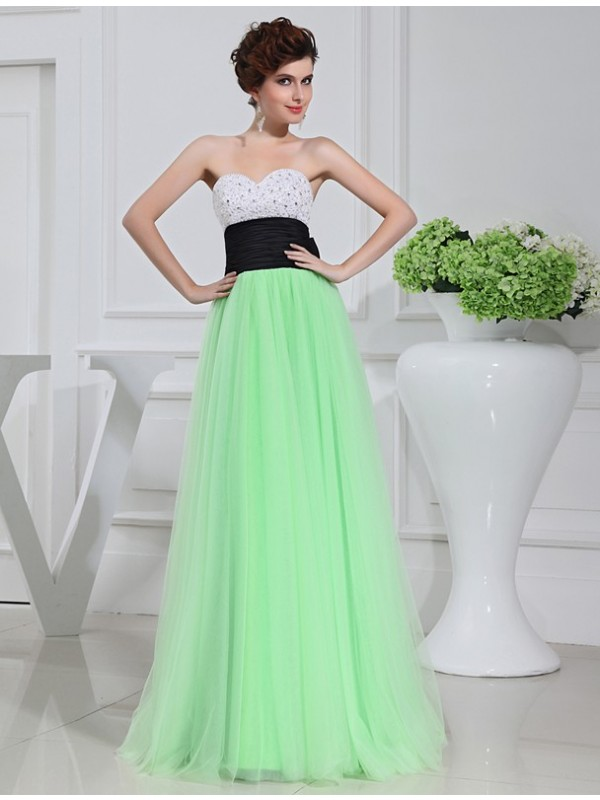 Bright A-Line Sweetheart Cut Tulle Long Dresses With Bowknot