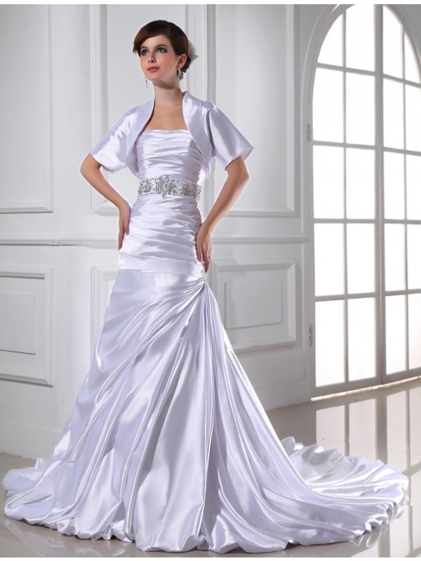 Awesome Mermaid Strapless Cut Elastic Woven Satin Long Wedding Dresses With Beading